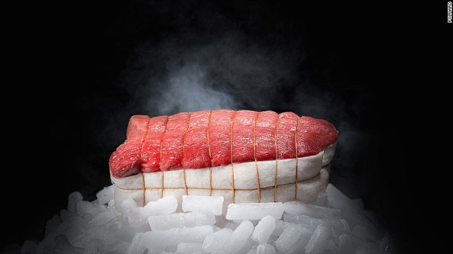 "Through a process called ""hibernation,"" invented by France's Polmard family, meat can be stored safely for any length of time. Cold air is blown at speeds of 120 kilometers per hour over the beef in a -43 C environment. The 2000 vintage cote de boeuf (rib steak) can cost as much as $3,200."