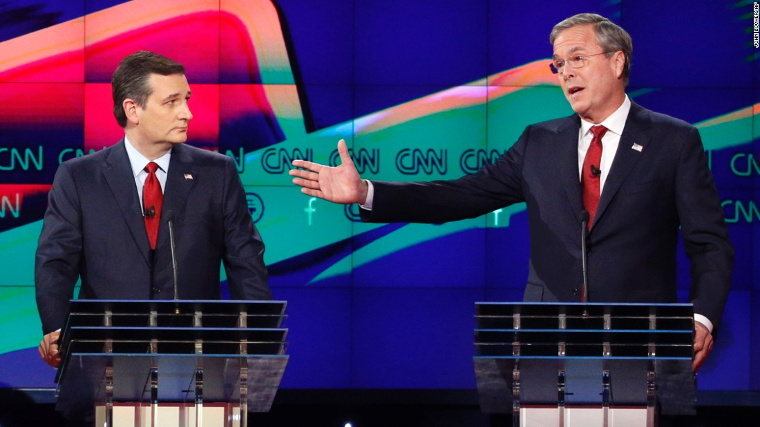 """Bush makes a point as Cruz looks on during the debate. Bush clashed with Trump often during the debate, at one point calling him a """"chaos candidate."""""""