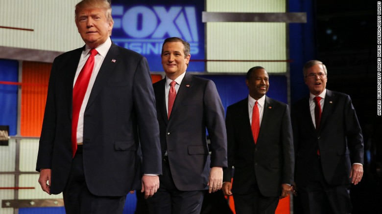 NORTH CHARLESTON, SC - JANUARY 14:  Republican presidential candidates (L-R) Donald Trump, Sen. Ted Cruz (R-TX), Ben Carson and Jeb Bush arrive to participate in the Fox Business Network Republican presidential debate at the North Charleston Coliseum and Performing Arts Center on January 14, 2016 in North Charleston, South Carolina. The sixth Republican debate is held in two parts, one main debate for the top seven candidates, and another for three other candidates lower in the current polls.  (Photo by Andrew Burton/Getty Images)