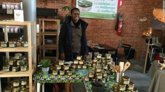 """Joujou Bomanga is a Congolese businesswoman living in Belgium. She developed Evelea Foods, with the aim of """"serving Africa in a jar""""."""