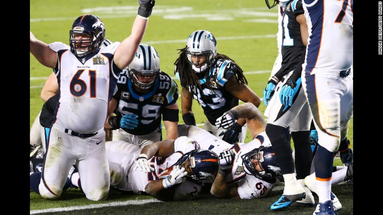 Denver Broncos running back C.J. Anderson scores a 2-yard touchdown in the fourth quarter of Super Bowl 50 on Sunday, February 7. The Broncos defeated the Carolina Panthers 24-10 in Santa Clara, California.