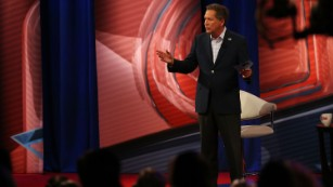 Republican presidential candidate, Ohio Gov. John Kasich answers a question in a CNN South Carolina Republican Presidential Town Hall.