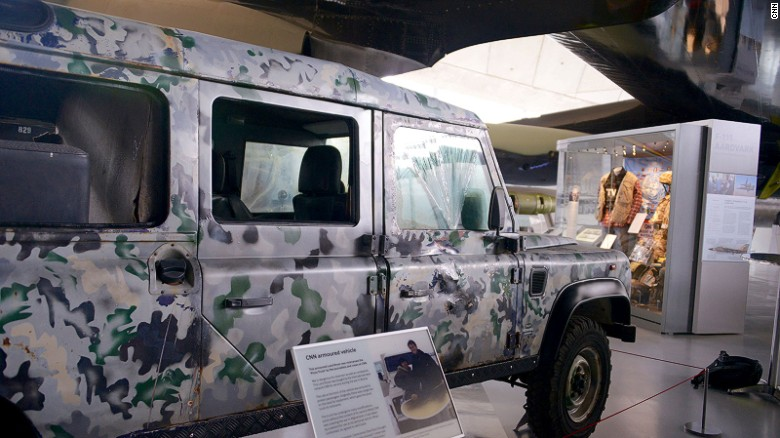 Sniper proof: CNN's first armored vehicle.