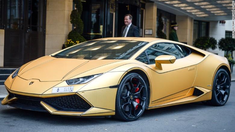 A Lamborghini pictured outside the Dorchester Hotel, London.<br />