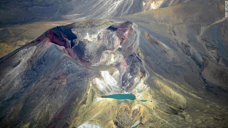 An aerial view of Tongariro Alpine Crossing in Ruapehu region.