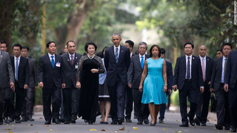 """President Barack Obama, center, accompanies Thi Kim Ngan, center left, chairwoman of Vietnam's National Assembly, at the Presidential Palace in Hanoi, Vietnam, on Monday, May 23. Obama is visiting Vietnam and Japan <a href=""""http://www.cnn.com/2016/05/23/politics/obama-hiroshima-vietnam-trip-wartime-legacy/index.html"""" target=""""_blank"""">during his trip to Asia</a>."""