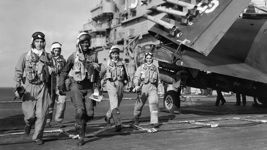 Brown with his squadron mates aboard the USS Leyte, where he'd finally won acceptance because of his skill as a pilot.
