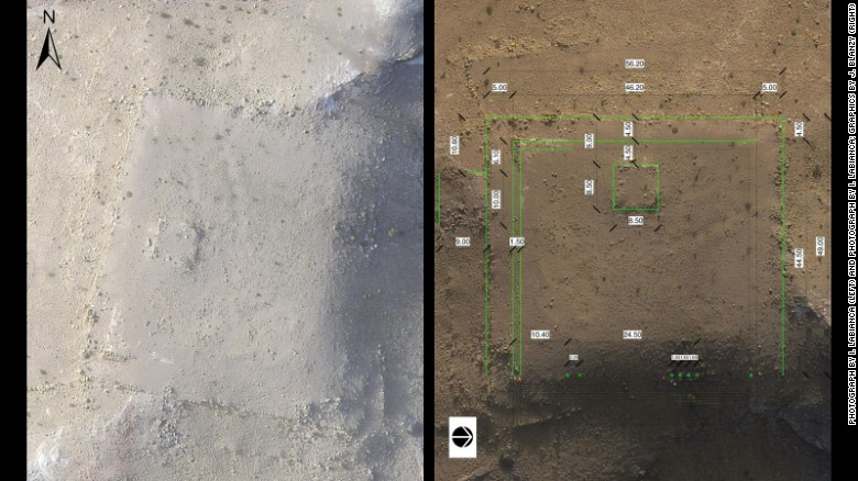 An overhead image of the new monument at Petra photographed from a drone, and a detail overlay of the surface features in which the image is rotated 90 degrees clockwise.