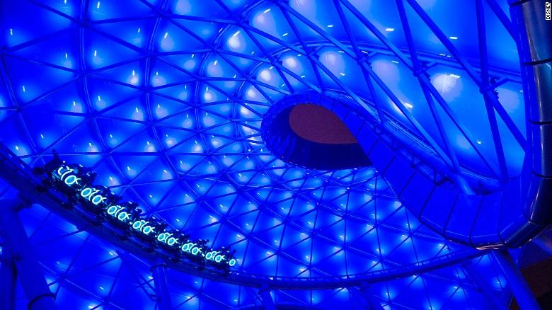 Disneyland Shanghai TRON Lightcycle Power Run coaster.