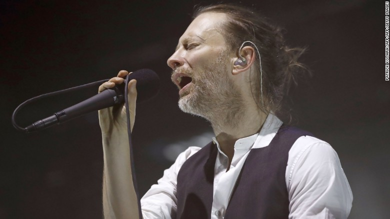 Lead singer Thom Yorke of the British band Radiohead performs on stage during a concert at the Zenith concert hall on May 24, 2016 in Paris