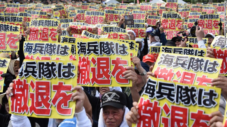 Tens of thousands of demonstrators rallied against U.S. military presence on the Japanese island of Okinawa on June 19, 2016.