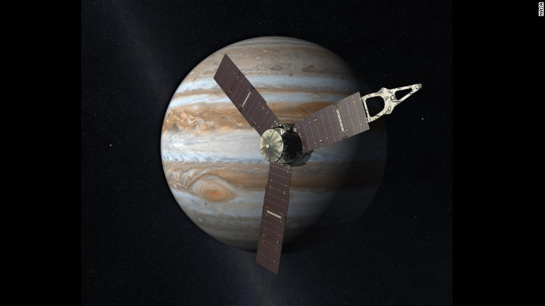 This artist rendering shows Juno orbiting Jupiter. Juno will study Jupiter from a polar orbit, coming about 3,000 miles (5,000 kilometers) from the cloud tops of the gas giant.
