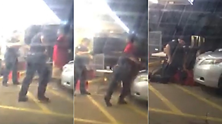 Still frames from the video that appears to show Alton Sterling being shot to death.