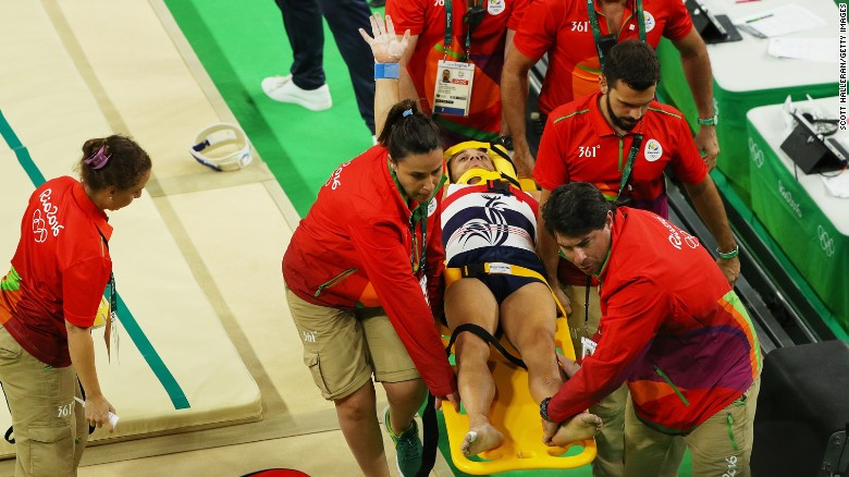 Samir Ait Said of France fractured two bones in his lower left leg during the men's gymnastics competition.