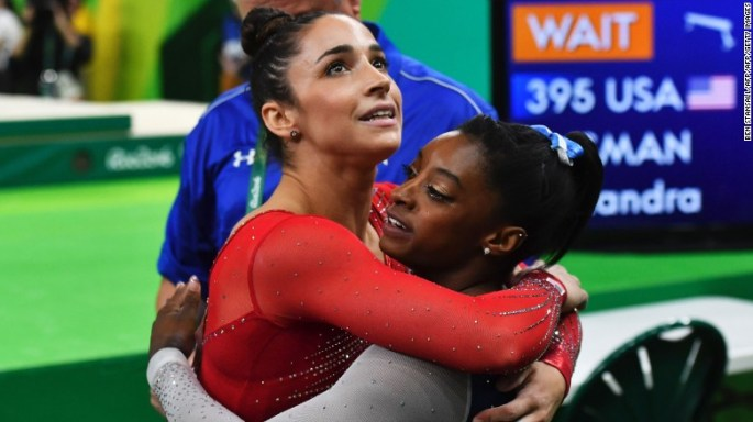 Biles and Raisman encouraged each other throughout the competition.