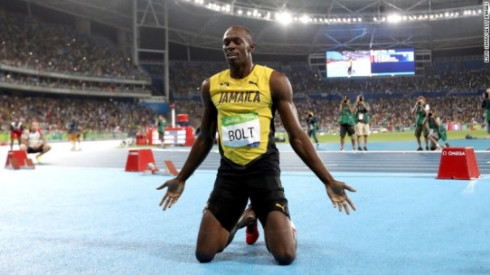Bolt of Jamaica celebrates after winning the men's 200m final.
