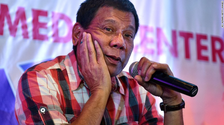 DAVAO CITY, PHILIPPINES - MAY 10:  Rodrigo Duterte answers questions from journalists during a press conference on May 10, 2016 in Davao City, Philippines. Duterte is set to become the Philippines' next president after Monday's election. (Photo by Jes Aznar/Getty Images)