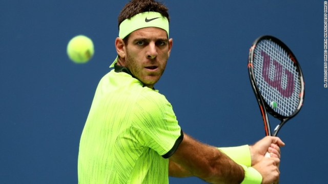 Juan Martin del Potro, pictured, faced Dominic Thiem in the fourth round of the US Open on Monday.