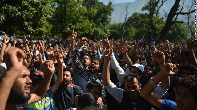 Mourners attend the funeral of an 11-year-old boy who was found dead in Srinagar on Friday.