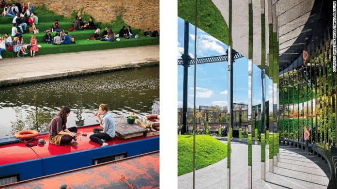 Left: Evening drinks on the roof of a canalboat and new waterside seating off Granary Square; Right: The mirrored panels of Gasholder No. 8, a disused Victorian gas tank now converted into a public art piece.