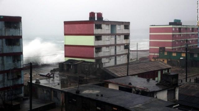 Waves crash against the Baracoa shore on Tuesday.