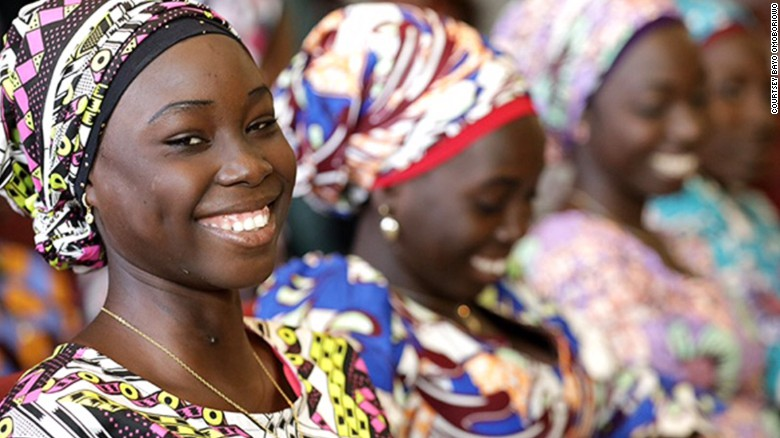 All smiles and enjoying a taste of freedom. The Chibok girls at the presidential villa in Abuja.