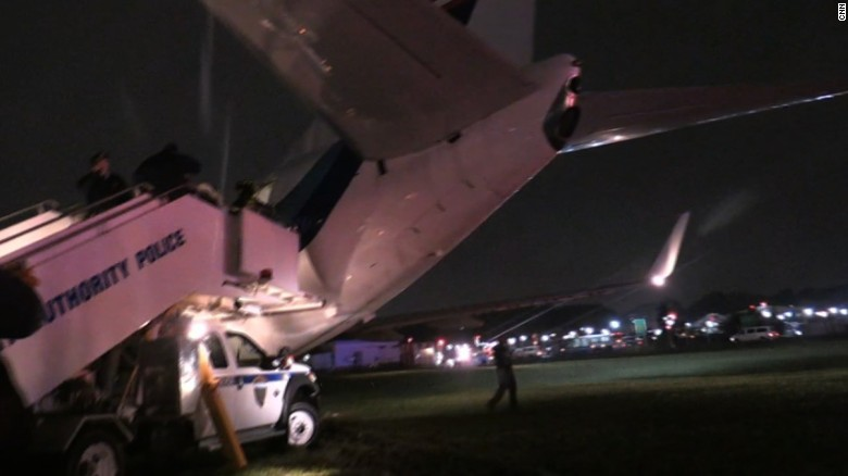 Image result for Plane carrying Pence skids off runway