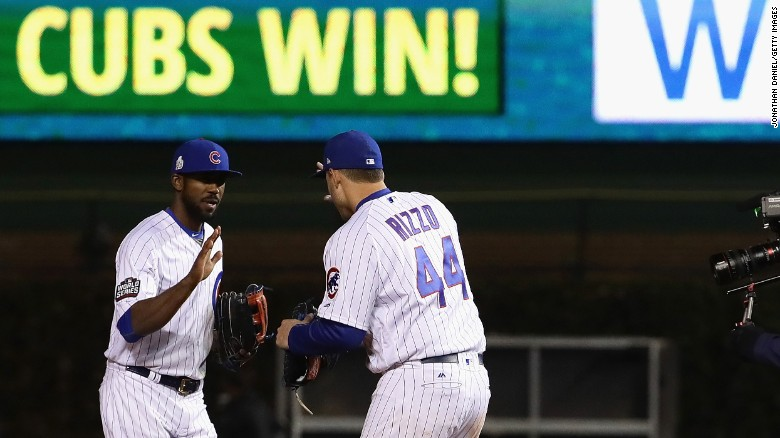 Dexter Fowler, left, and Anthony Rizzo, right, of the Chicago Cubs celebrate after beating the Cleveland Indians 3-2 in Game 5 of the 2016 World Series at Wrigley Field on Sunday, October 30 in Chicago.