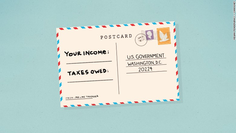 income taxes postcard