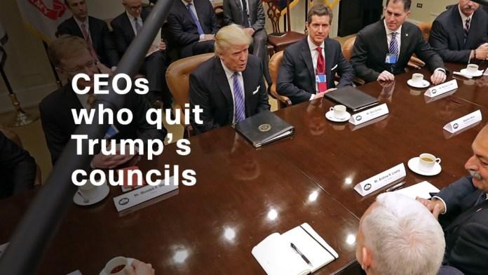 Los CEOs que abandonan los consejos empresariales de Trump &quot;border =&quot; 0 &quot;/&gt; <span class=