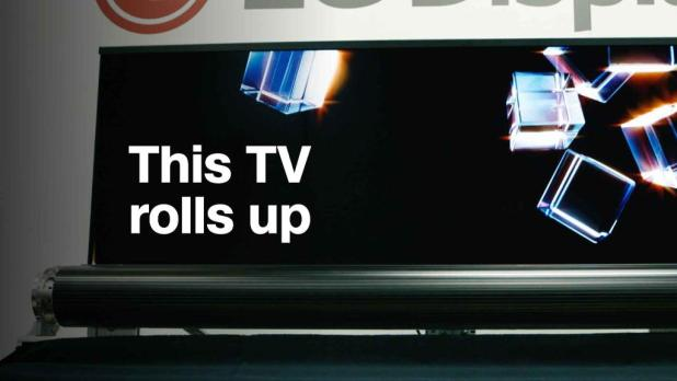 """Watch this 65"""" TV roll up like a yoga mat"""