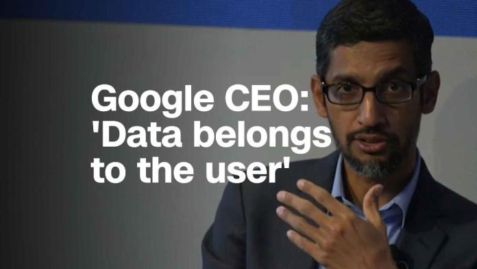 Google CEO: 'Data belongs to the user'