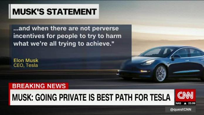 Is Elon Musk taking Tesla private?