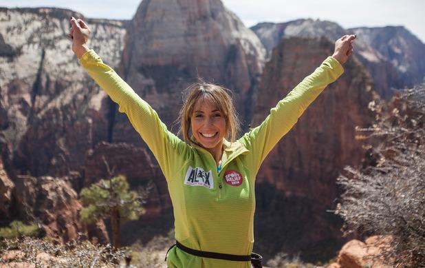 Alex Jones completes her Sport Relief challenge at Zion National Park in Utah