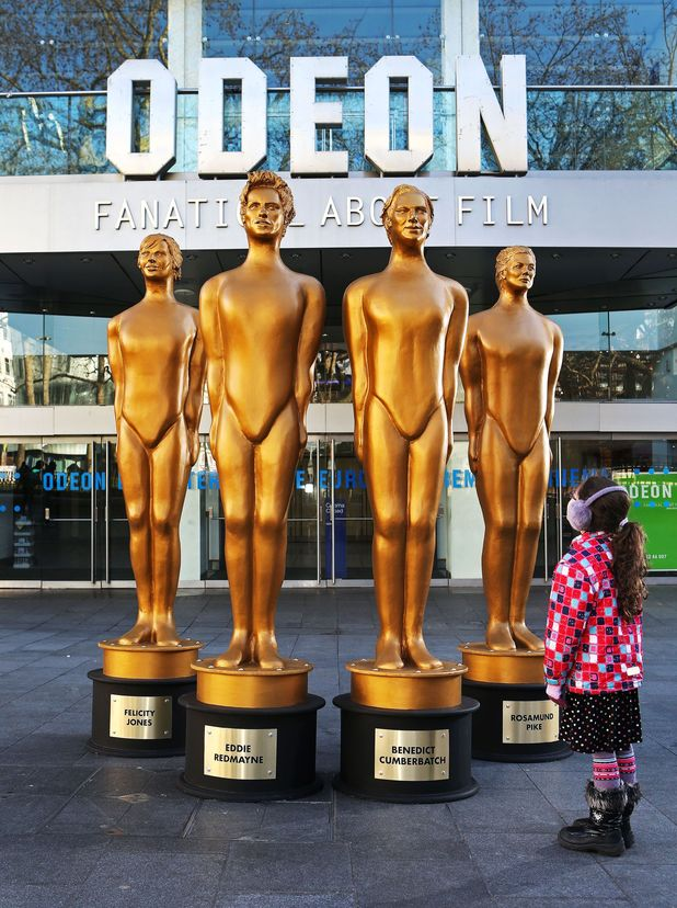 87th Academy Awards British Nominees Statues, London, Britain - 18 Feb 2015Eddie Redmayne, Benedict Cumberbatch, Felicity Jones and Rosamund Pike cast as gold awards statues by ODEON Cinemas ahead of The Academy Awards this Sunday.<br /> 18 Feb 2015