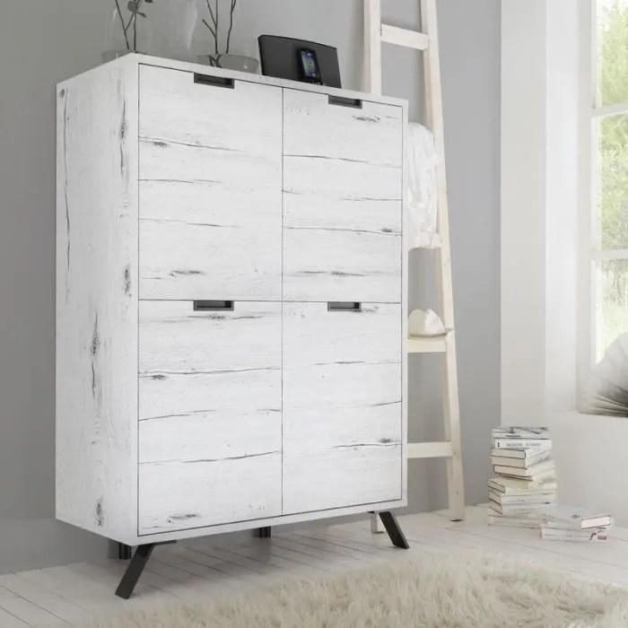 vitrine argentier vaisselier armoire de salon 4 portes chene blanchi