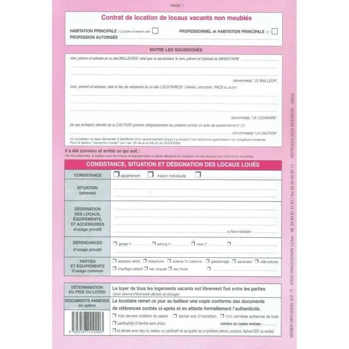 Contrat De Bail Dhabitation Bail Dhabitation Achat