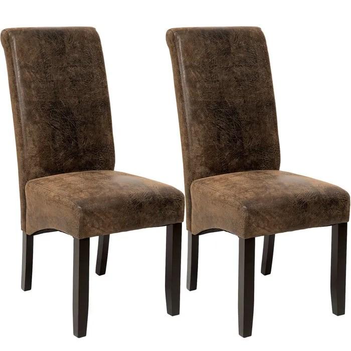 2 Chaises de salle  manger design 105 cm Marron Aspect Vieilli  Daim Chaises de Salon Meuble