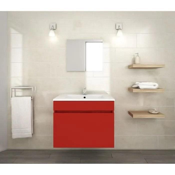 luna ensemble salle de bain simple vasque l 60 cm rouge mat