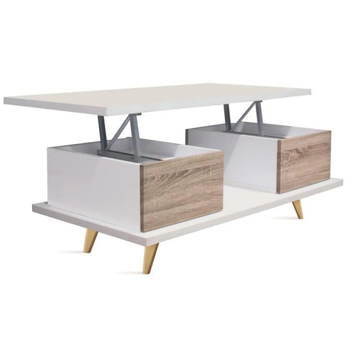 Table Basse Relevable En Bois Coloris Blanc Cambrian