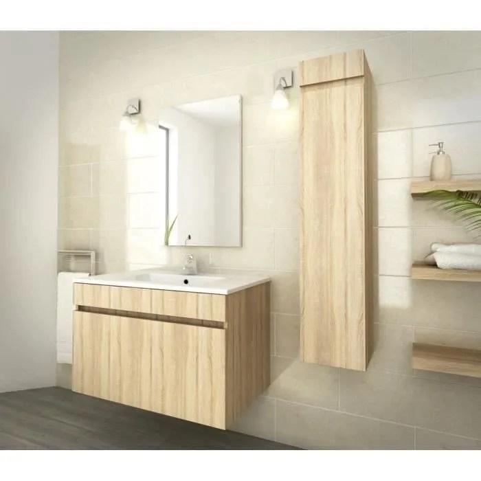luna ensemble salle de bain simple vasque l 80 cm decor oak sonoma