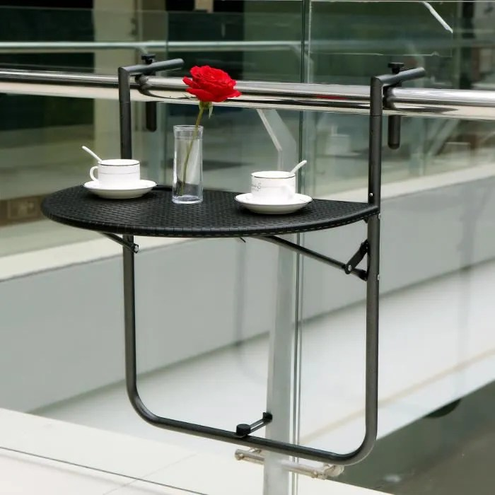 IKayaa Table Suspendue Pliante De Balcon Terrasse Patio