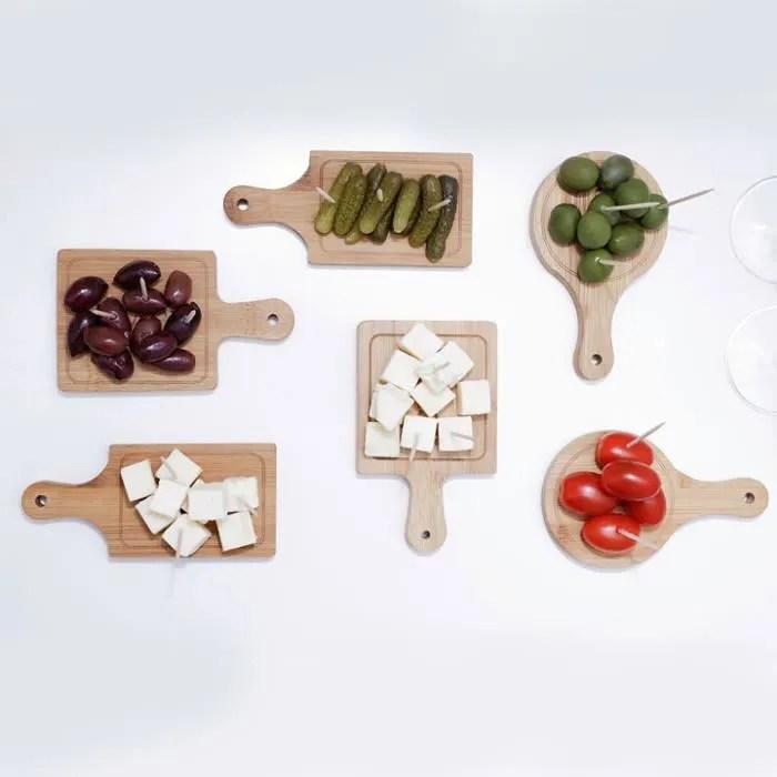 set 6 mini planches de service apero bois