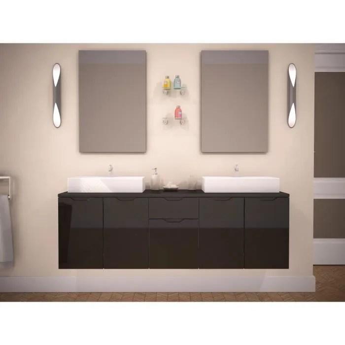 Maison Meubles Mobilier Lisa Double Vasque Coloris Laque Noir Cm F Z L