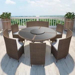 salon de jardin marron en polyrotin table ronde et chaises 12 pers
