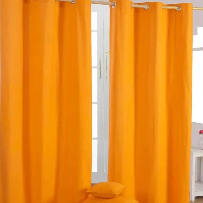 Paire De Rideaux Oeillets Uni Orange 100 Coton 137 X