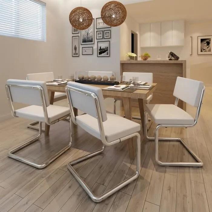 Set de 6 Chaises de salon Design et Moderne  Achat  Vente chaise Blanc  Cdiscount