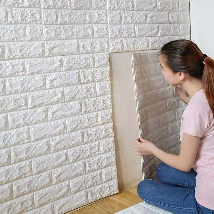 3D DIY PE mousse mur autocollants mur maison dcor rtro Brique en relief pierre w70cm  Achat