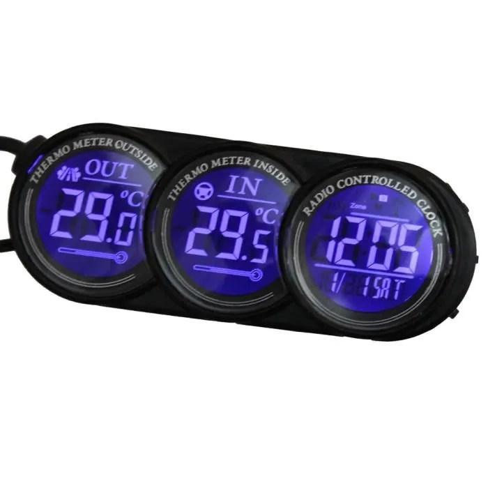 Thermometre horloge digital pour voiture intrieur extrieur alarme gel  Achat  Vente