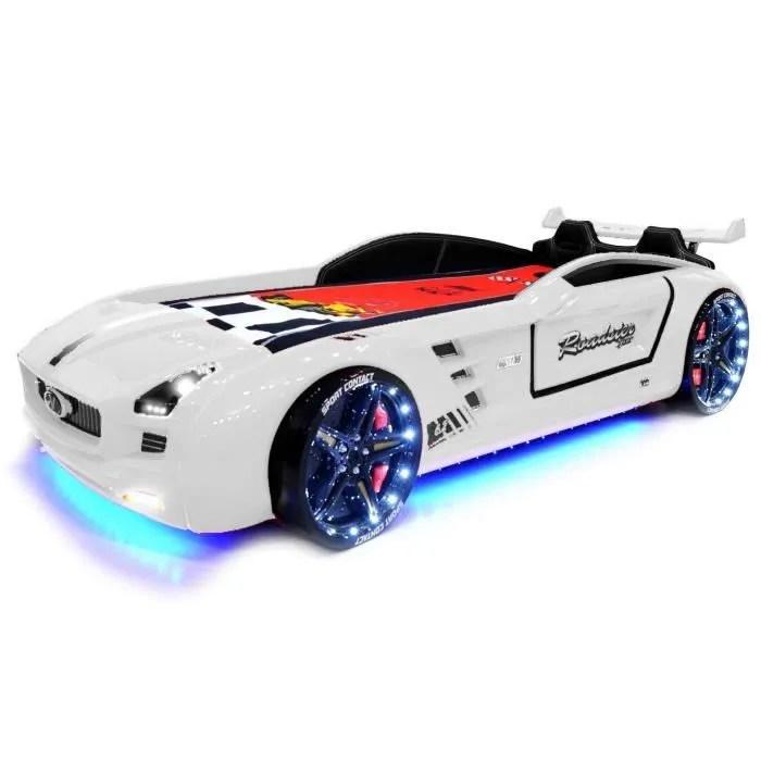 lit voiture enfant le lit roadster pour garcon 90cmx190cm blanc